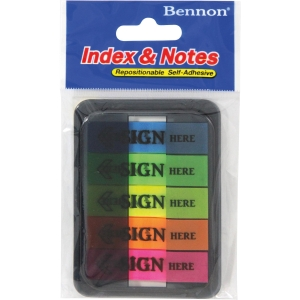 BENNON 06627 SIGN HERE FLAGS 1.2 X4.5  ASSORTED COLOURS - 100 FLAGS
