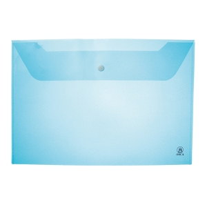 ORCA 120 PLASTIC ENVELOPE WITH BUTTON HORIZONTAL A4  BLUE - PACK OF 12