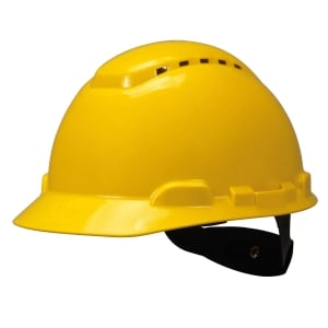 3M H-702V SAFETY HELMET VENTED TURN STRAP HDPE YELLOW