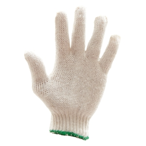 500G GLOVES COTTON PAIR FREE SIZE WHITE/GREEN PACK OF 12