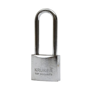 KRUKER SPRING PADLOCK CHROMIUM LONG LOOP 32MM