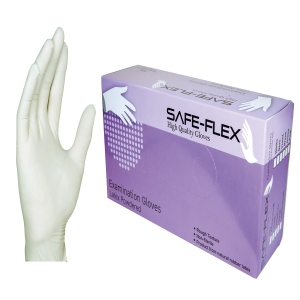 SAFE-FLEX POWDER GLOVES LATEX PAIR SMALL WHITE PACK OF 50