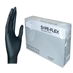 SAFE-FLEX GLOVES NITRILE PAIR MEDIUM BLACK PACK OF 50