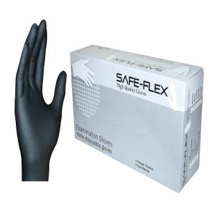 SAFE-FLEX GLOVES NITRILE PAIR SMALL BLACK PACK OF 50