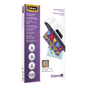 FELLOWES LAMINATING POUCHES ADHESIVE 80MIX2 A3 - BOX OF 100