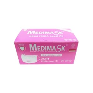 MEDIMASK FACE MASK 3 PLY PINK PACK OF 50