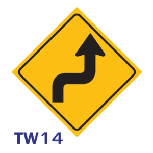 ป้ายจราจร TW14 อลูมิเนียม 45X45 เซนติเมตร