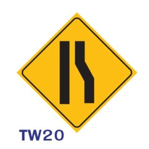 ป้ายจราจร TW20 อลูมิเนียม 45X45 เซนติเมตร