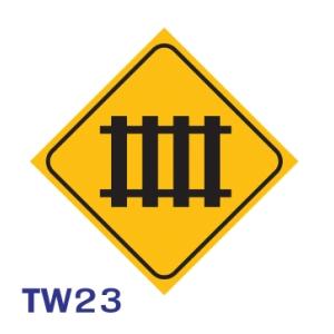 ป้ายจราจร TW23 อลูมิเนียม 45X45 เซนติเมตร