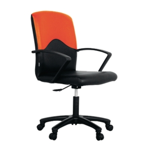 ACURA STRING OFFICE CHAIR PVC/FABRIC BLACK/ORANGE