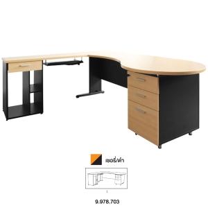ACURA โต๊ะทำงานไม้ PANEL PLUS เชอรี่/ดำ ซ้าย