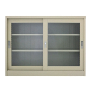 METALPRO MET-975G STEEL SIDEBOARD WITH CLEAR WINDOW CREAM