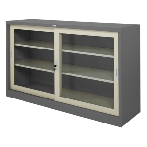 ZINGULAR ZDG-325 STEEL SIDEBOARD WITH GLASS GREY