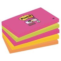 SUPER STICKY NOTES POST-IT 655SN 76 X 127 MM ASSORTERTE FARGER PAKKE À 5 STK.