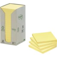 Post-it® resirkulerte notatblokker 654-1T 76mm x 76mm gul pakke a 16 blokker