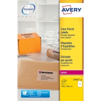 ETIKETT AVERY L7567 TRANSPARENT 21X29,7 MM PK25