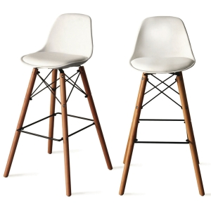 PAPERFLOW STEELWOOD BARSTOOL SET OF 2 WH
