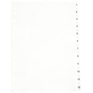 PLASTREGISTER PP A4 1-12 GRÅ