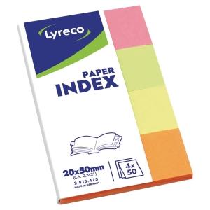 Lyreco Indexfaner papir 4 assorterte farver