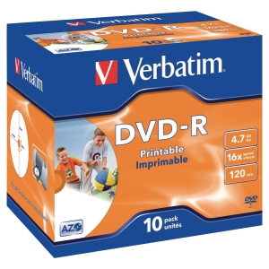 DVD-R Verbatim i/jet prinTBar jewel bx10 pakke à 10 stk
