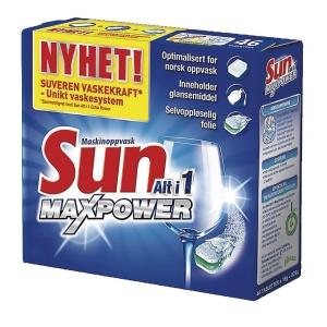 Oppvasktabletter Sun Alt i 1 Maxpower pakke à 46 stk