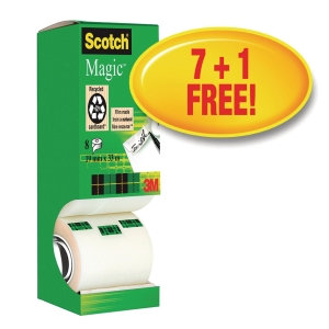 Scotch® Magic Tape 810, 19mm x 33 m, pakke med 8 ruller + 1 rull gratis