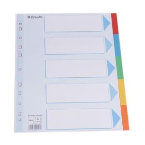 Skilleark Esselte, kartong, 5-delt, A4, assorterte farger