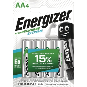 BATTERI ENERGIZER EXTREME AA/HR6 OPPLADBAR PK4
