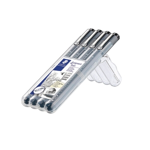 FINELINER STAEDTLER 308 ASS STR SORT PAKKE À 4 STK
