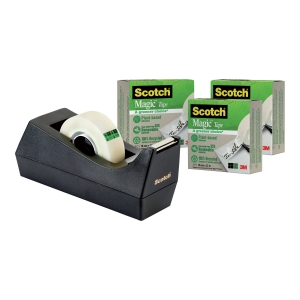 Borddispenser Scotch C38 sort + 3 ruller Scotch Magic tape, 19 mm x 33 m