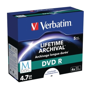 M-DISC DVD+R VERBATIM 4,7GB JEWELCASE PAKKE À 5 STK