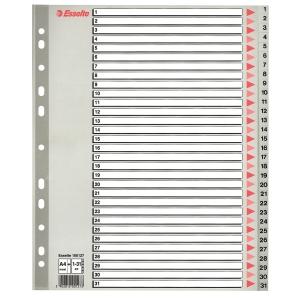 Skilleark Esselte, 1-31, plast, A4+, grå