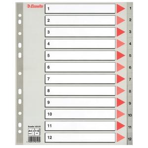 Register Esselte, 1-12, plast, A4+, grå