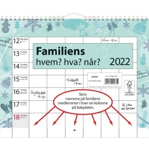 FAMILIEKALENDER HVEM, HVA, NÅR 29 x 21 CM