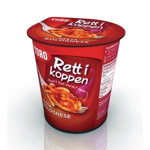 Pasta bolognese Toro Rett i Koppen 65 gram eske à 6 stk.