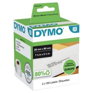 ETIKETTER DYMO 99010 28X89MM INNEHOLDER 2 RULLER À 130 STK ETIKETTER