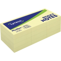 Haftnotizen Lyreco, 38x51mm, 100 Blatt, gelb, 12 Stück