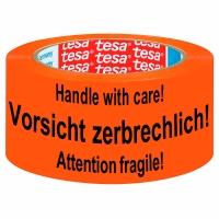 Warnklebeband Tesa 58132 Vorsicht zerbrechlich 50mm x 66m orange/schwarz
