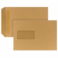 Versandtaschen C5, mit Fenster, Selbstklebung, 90g, braun, 500 Stück