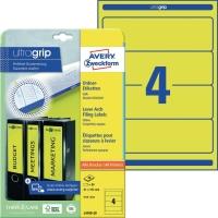 Ordner-Etiketten Avery Zweckform L4769, kurz / breit, gelb, 20 Blatt/80 Stück