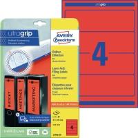 Ordner-Etiketten Avery Zweckform L4766, kurz / breit, rot, 20 Blatt/80 Stück