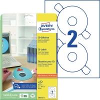 CD/DVD-Etiketten Avery Zweckform L6015, Ø 117mm, weiß, 25 Blatt/50 Stück