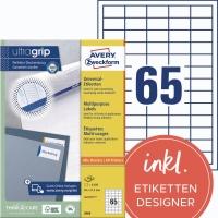 Universal-Etiketten Avery Zweckform 3666, (LxB)38x21,2mm, weiß, 100Bl/6.500St