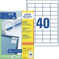Universal-Etiketten Avery Zweckform 3657 48,5x25,4mm weiß 100 Blatt/4.000 Stück