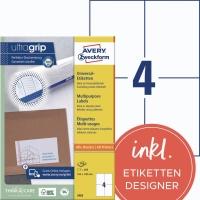 Universal-Etiketten Avery Zweckform 3483 105x148mm 100 Blatt/400 Etiketten, weiß