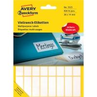 Vielzweck Etiketten Avery Zweckform 3323, 38x14 mm, 29 Bogen/928 Etiketten, weiß