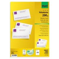 Visitenkarten Sigel DP839, 85 x 55mm, 200g, blanko, satiniert, weiß, 150 Stück