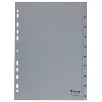 Register Lyreco Budget 1-10, A4, aus Kunststoff, 10 Blatt, grau