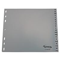 Register Lyreco, A-Z, A4(18cm hoch), aus Kunststoff, 20 Blatt, grau