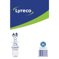 Notizblock Lyreco A5, kariert, Recycling, 50 Blatt